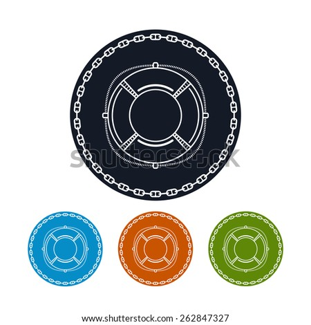 Icon lifebuoy ,the four types of colorful round icons lifebelt in the circle of the chain,  vector illustration - stock vector