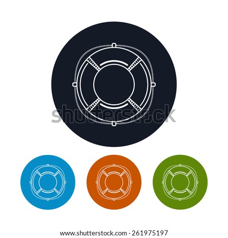 Icon lifebuoy ,the four types of colorful round icons lifebelt,  vector illustration - stock vector