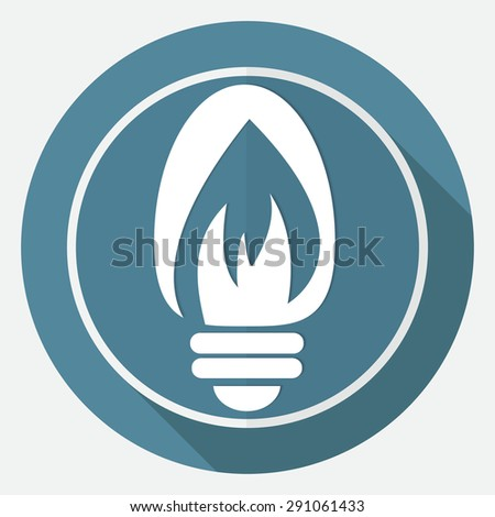 Icon Light bulb on white circle with a long shadow - stock vector