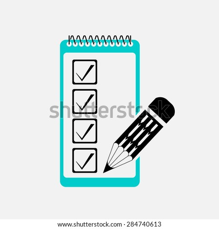 icon list of visits, filling in the form, checklist, mark, editable vector image - stock vector