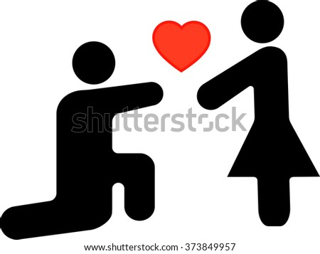 icon man and woman, man makes a proposal to girl of marriage, outlined vector - stock vector