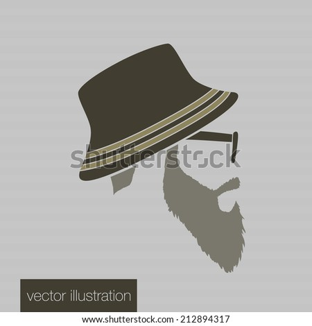 Icon man in a headdress hat, mustache, vector - stock vector