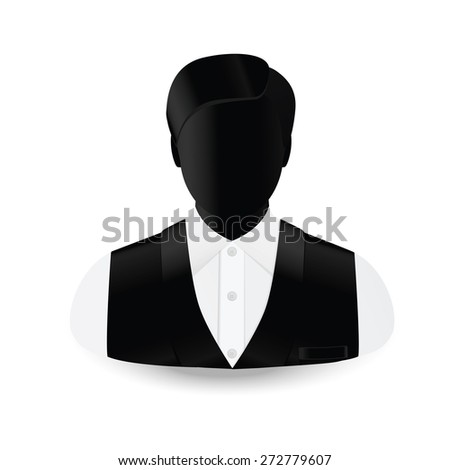 icon man in a white shirt and a sleeveless jacket - stock vector
