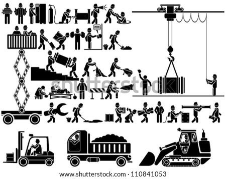 ICON MAN WORK - stock vector