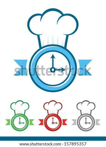 Icon of a clock wearing a chef hat/Time to Cook Vector - stock vector