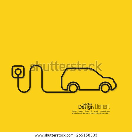 Icon of a hybrid car that runs on electricity. Recharge and clean energy. flat design. minimal. Outline. yellow background - stock vector