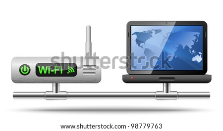Icon of a laptop connected to a wireless router.  Vector Illustration - stock vector
