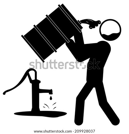 Icon of a man drinking contaminated water from barrel - stock vector