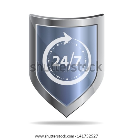 Icon of a metallic shield with sign - protection around the clock. Isolated on white background. - stock vector