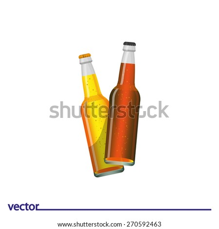 Icon of bottle of beer. Isolated on white background. Modern vector illustration for web and mobile. - stock vector