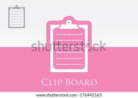 Icon of Clip Board on Colorful Background. Eps.-10. - stock vector