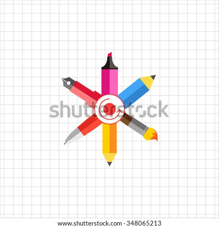 Icon of crossed ink pen, ball pen, pencil, paint brush, highlighter with dot and arrow circle in center - stock vector