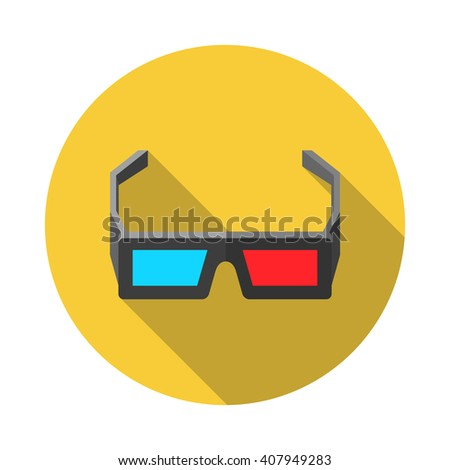 Icon of 3D Cinema Glasses. Flat style illustration with long shadow - stock vector