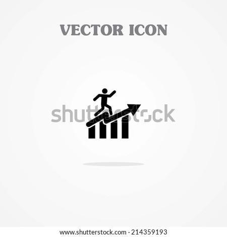 Icon of Graph with Man  - stock vector