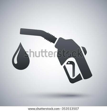 Icon of gun for fuel pump with a drop of fuel, stock vector - stock vector