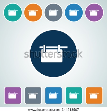 Icon of Hanging Billboard in Multi Color Circle & Square Shape. Eps-10. - stock vector