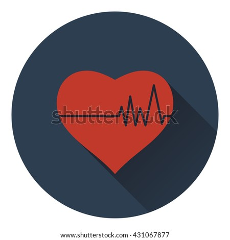 Icon of Heart with cardio diagram. Flat design. Vector illustration. - stock vector
