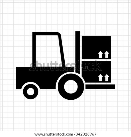 Icon of loaded fork lift truck - stock vector