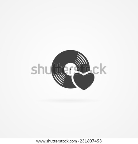 Icon of love music. - stock vector