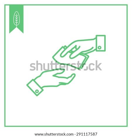 Icon of manâ??s hand giving banknotes to another manâ??s hand - stock vector