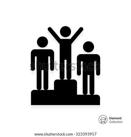 Icon of man silhouettes standing on winner podium - stock vector
