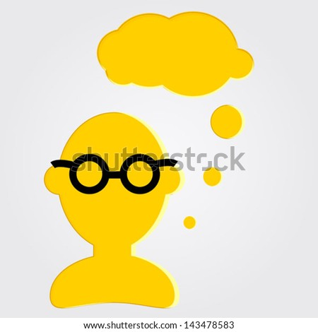 icon of man with glasses for chat - stock vector