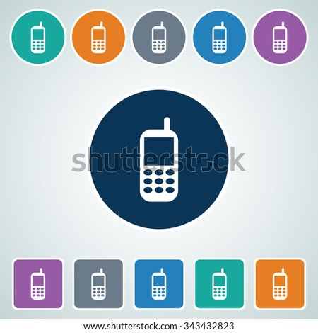 Icon of Mobile Phone in Multi Color Circle & Square Shape. Eps-10. - stock vector