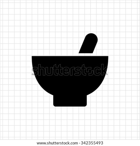 Icon of mortar and pestle - stock vector
