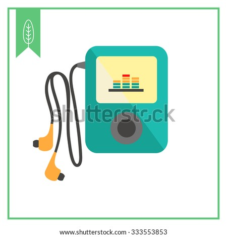 Icon of mp3 player with in-ear headphones - stock vector