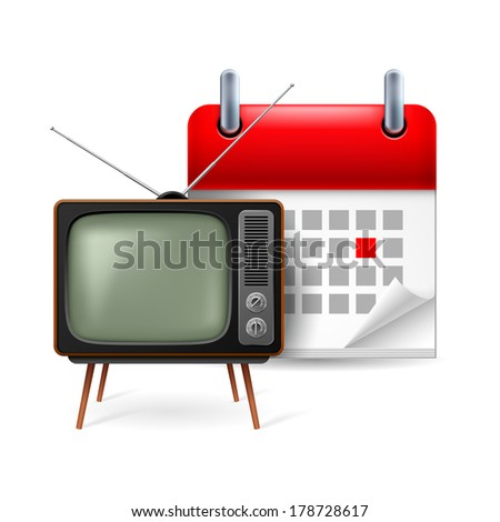Icon of old TV-set and calendar with marked day - stock vector