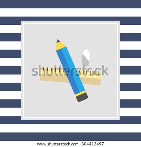 Icon of pencil, eraser, ruler - stock vector