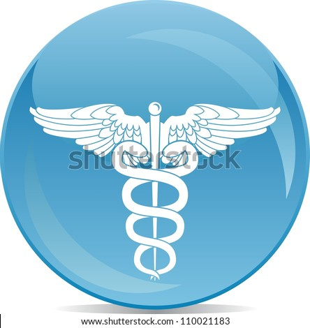 icon of pharmacy sign white silhouette on blue ball - stock vector