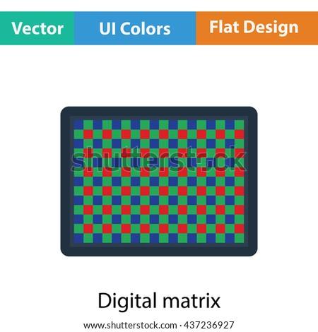Icon of photo camera sensor. Flat color design. Vector illustration. - stock vector