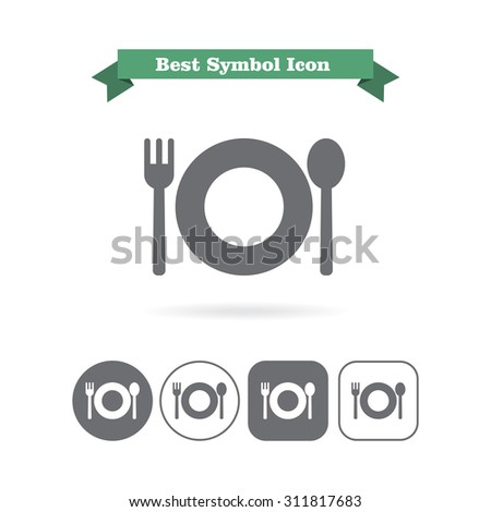 Icon of plate with fork and spoon - stock vector