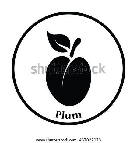 Icon of Plum . Thin circle design. Vector illustration. - stock vector