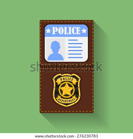 Icon of Police Badge With Id Case, holder. Flat style  - stock vector
