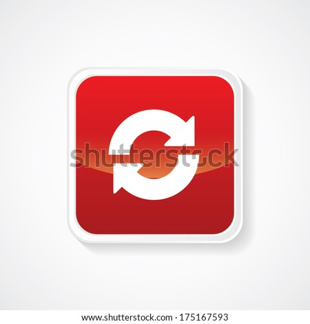 Icon of recycle on Red Glossy Button. Eps-10 - stock vector