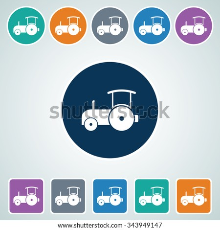 Icon of Road Roller in Multi Color Circle & Square Shape. Eps-10. - stock vector