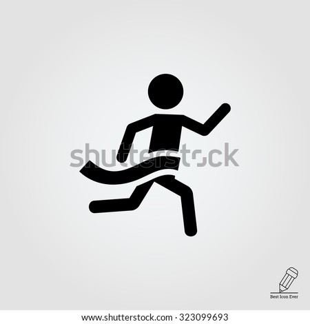 Icon of running man silhouette crossing finish line - stock vector