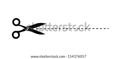 Icon of scissors with cutout line vector - stock vector