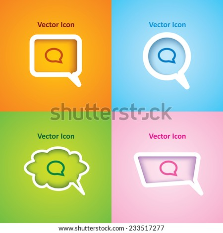 icon of speech bubble on four kinds of speech bubble with four different color beautiful background. Eps-10. - stock vector