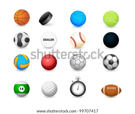 icon of sports balls and stopwatch - stock vector