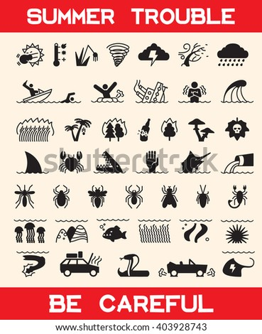 Icon of summer danger, summer troubles. Extreme weather, accident on water and earth, collection poisonous plants and insects, troubles underwater, kinds of dangerous fish and animals. - stock vector