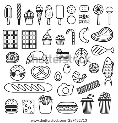 Icon of sweets, fast food, meat and fish. Vector food icon set - stock vector