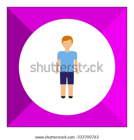 Icon of teenage boy wearing blue t-shirt and shorts - stock vector