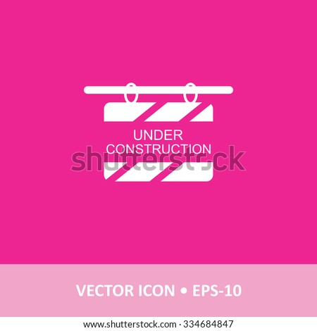 Icon of Under Construction Board on Magenta Color Background. Eps-10. - stock vector
