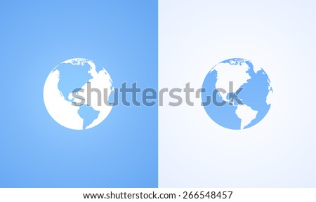Icon of World Globe on white and blue background, Vector Illustration of Earth planet - stock vector