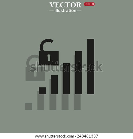 Icon on a green background with shadow. Signal strength indicator, open access, vector illustration, EPS 10 - stock vector