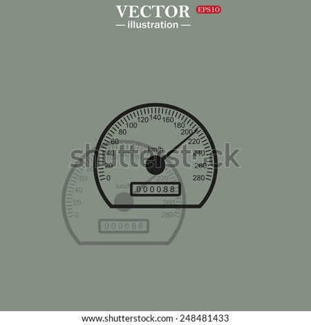 Icon on a green background with shadow. speedometer. Vector illustration EPS 10  - stock vector