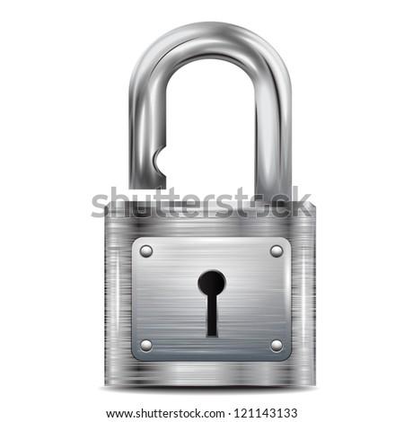 icon open padlock, metal structure - stock vector
